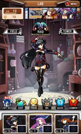 Hauptmenü des Anime Spiel MonTowers 2